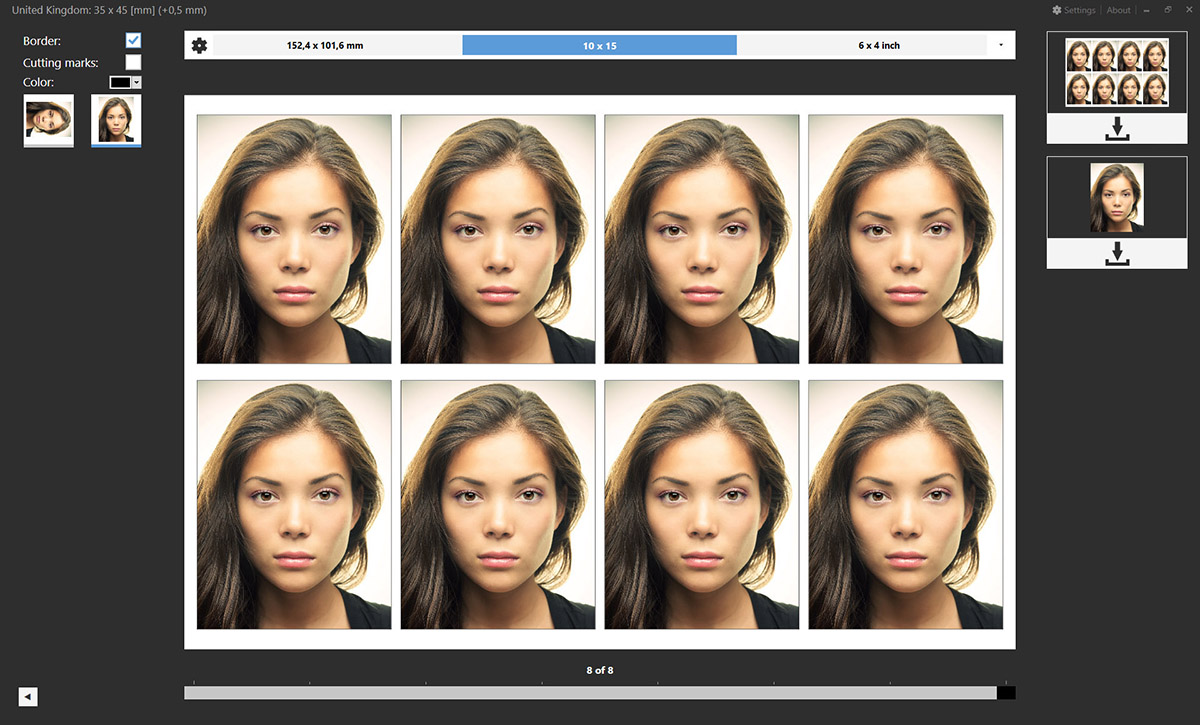 Eight passport photos on a 4x6 inch photo paper
